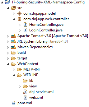 Spring Security XML Namespace Configuration Example - Dinesh on Java