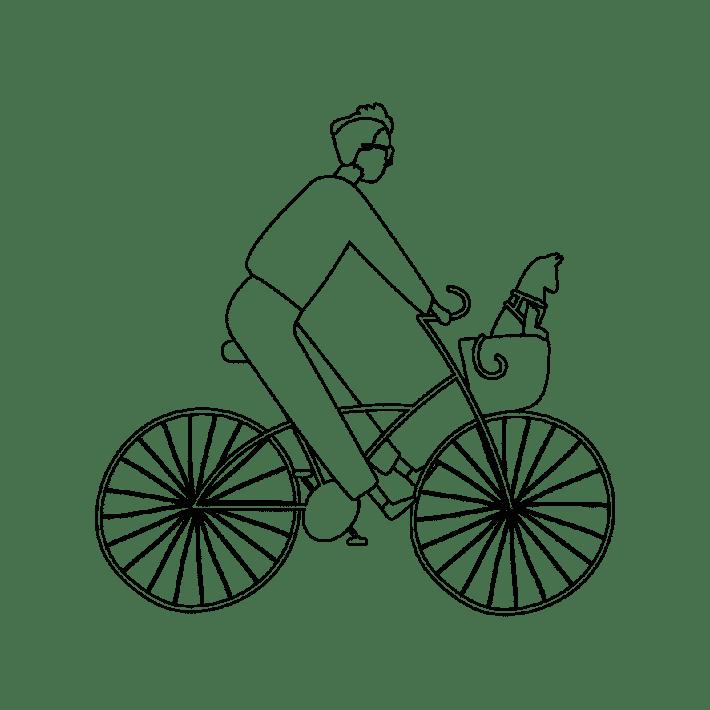 Croquis vélo homme chat Arcachon DINGOVELOS