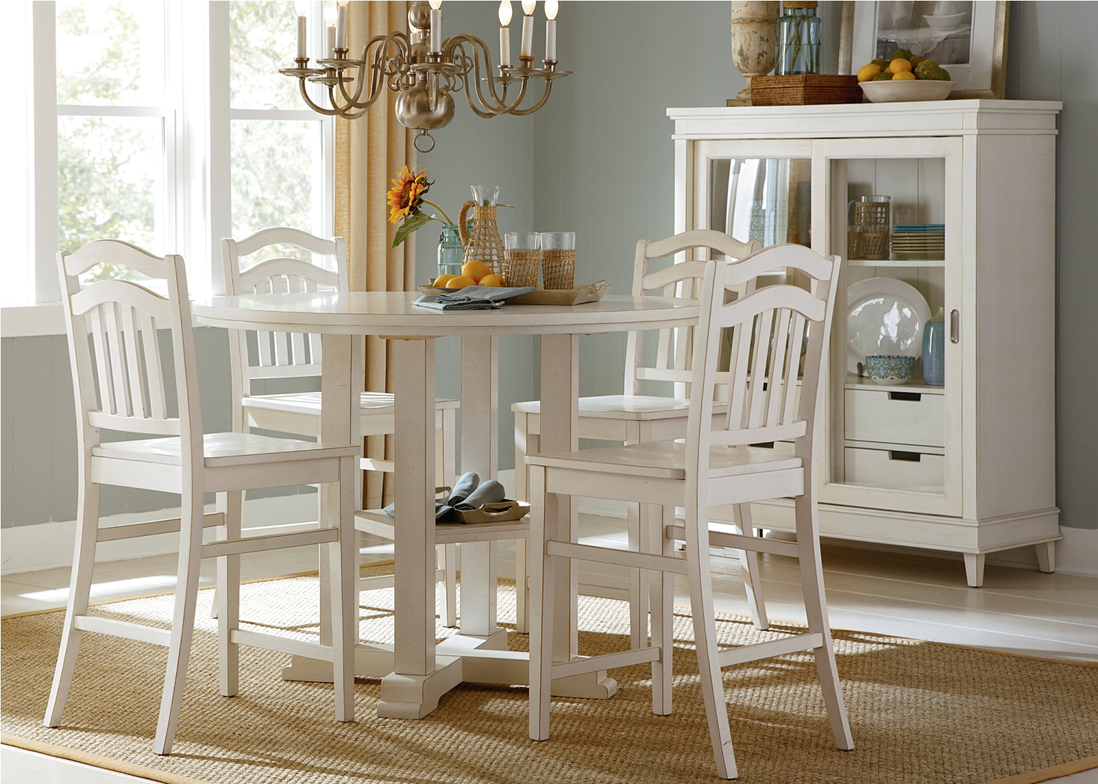 Liberty Furniture Summerhill 5 Piece Gathering Dining Set In Rubbed Linen White By Dining Rooms