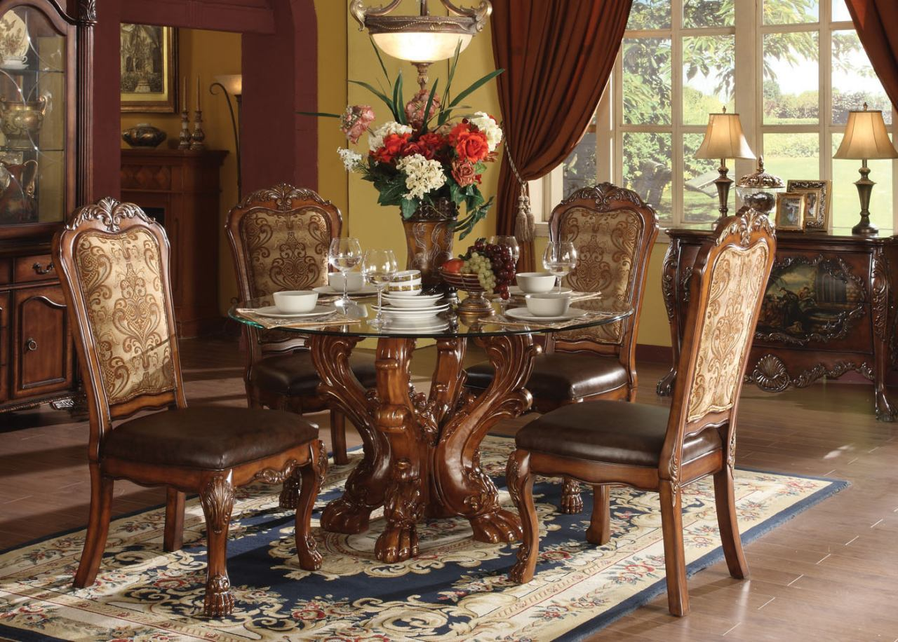 Acme Dresden 5 pc Round Dining Table Set in Cherry by Dining Rooms     Acme Dresden 5 pc Round Dining Table Set in Cherry