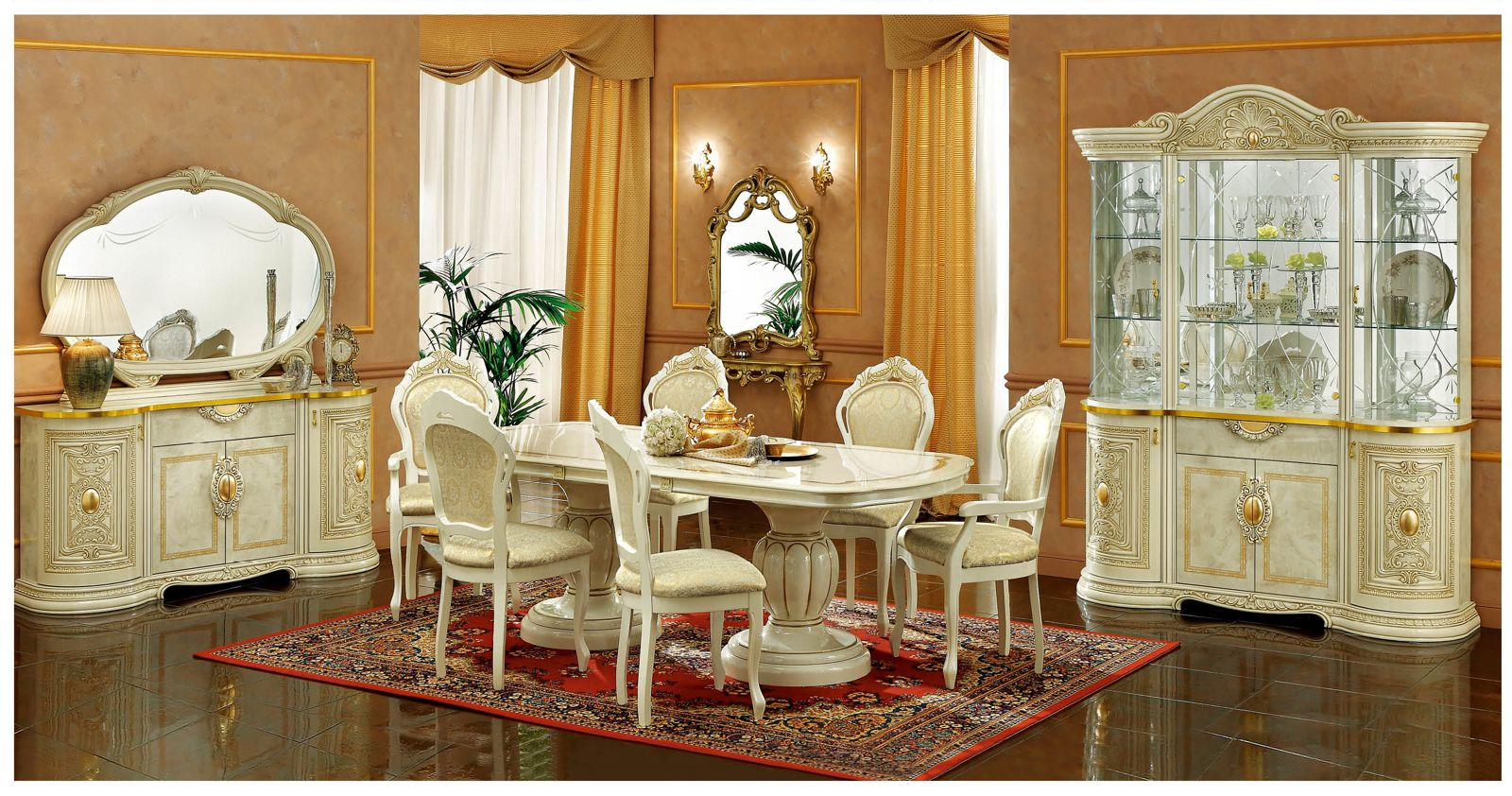 ESF Furniture Leonardo 7pc Dining Table Set In Ivory By Dining Rooms Outlet