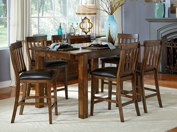 A America Mariposa Gathering Dining Set In Rustic Whiskey