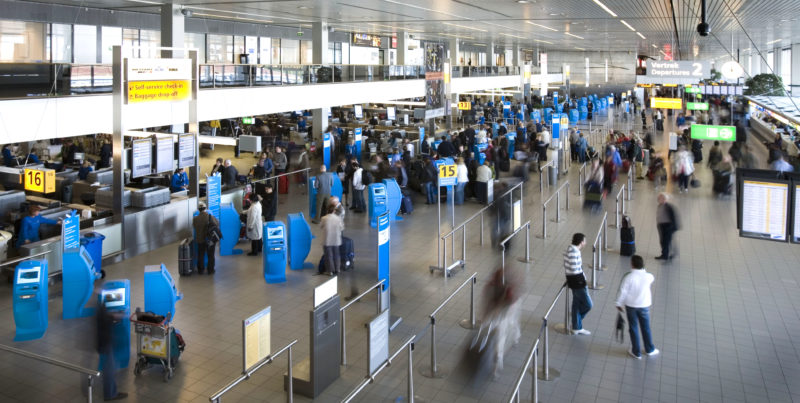Flying KLM Schiphol Airport