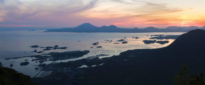 Sitka sunset from Mount Verstovia Alaska Jewelry