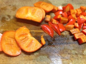 Beautiful persimmons  on cutting board