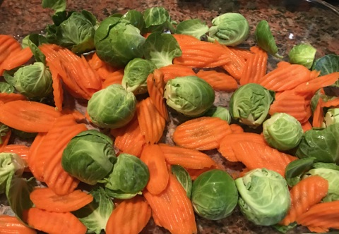 Medley of brussel sprouts and carrots
