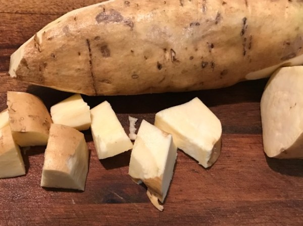 Cutting Board of White Sweet Potato