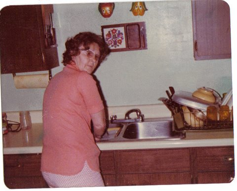 Granny doing dishes