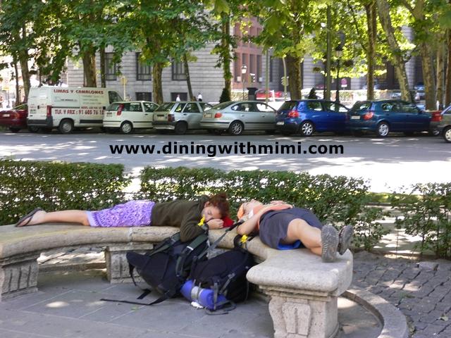 Girls sleeping in Madrid