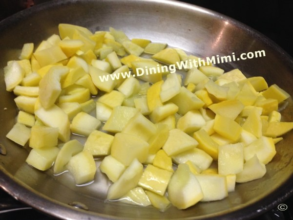hopped Yellow Squash Cooking in saucepan www.diningwithmimi.com