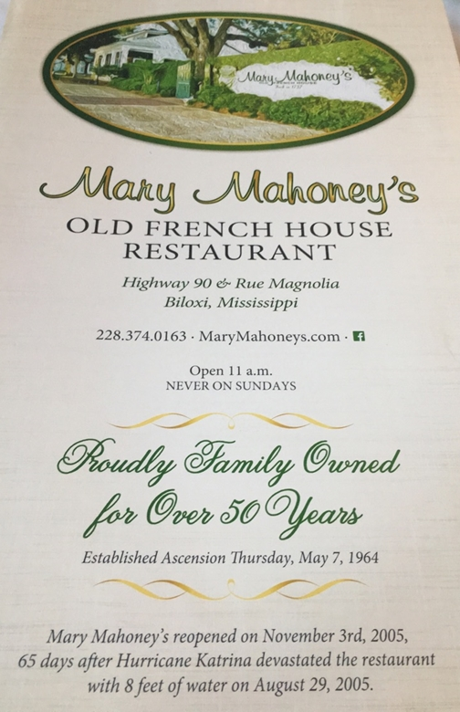 Mary Mahoneys Old French House Restaurant 24 Hours Coastal Mississippi www.diningwithmimi.com