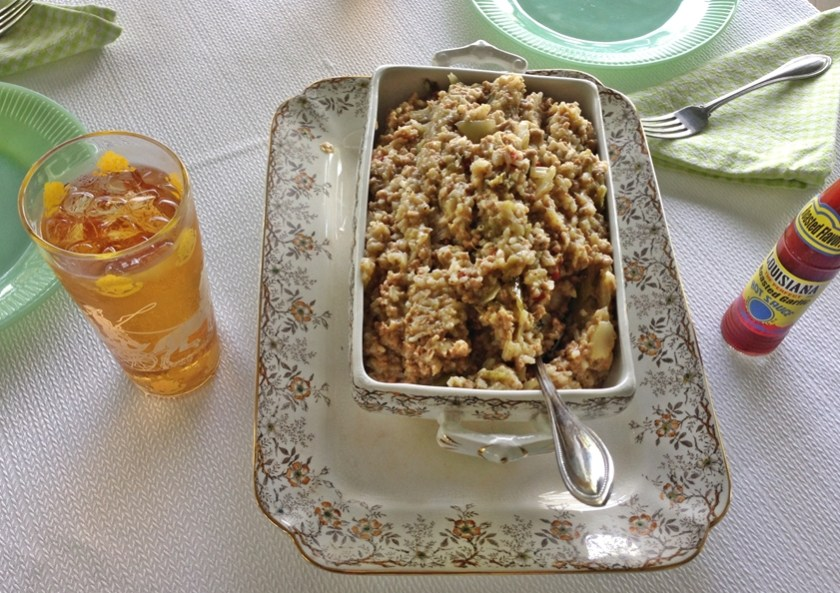 Antique platter and soup tureen filled with Old Southern Rice Dressing www.diningwithmimi.com