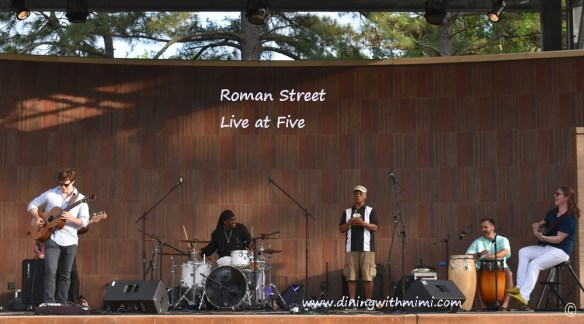 Five musicians playing in Roman Street Band playing Cinco inspired Smoky Roasted Poblano, Tomatillo and Tomato Salsa www.diningwithmimi.com