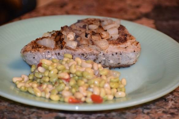 Jadite plate with tuna steak & creamer peas Seasoned Ahi Tuna Steaks Sear Then Flip Recipe www.diningwithmimi.com