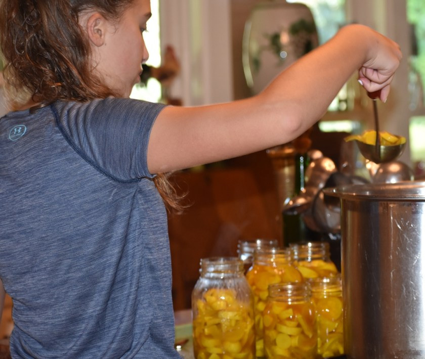 Young girl adding squash pickles to canning jars My Fearless Sous Chef in Training www.diningwithmimi.com
