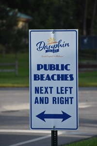 Public Beach access sign for Unwind on Dauphin Island www.diningwithmimi.com
