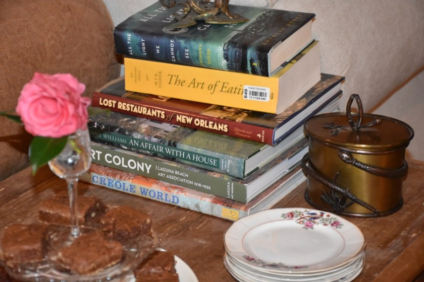 Mimis Brownies next toCoffee table Books  www.diningwithmimi.com