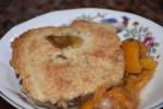 Sun Kiss Loquat Cobbler served in antique Martha Washington dessert bowl www.diningwithmimi.com