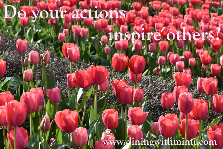 Field of Red Tulips for Quote- Do your actions inspire others? www.diningwithmimi.com