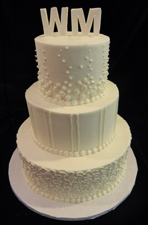 Wedding Cakes     Dinkel s Three Tiered with Initials