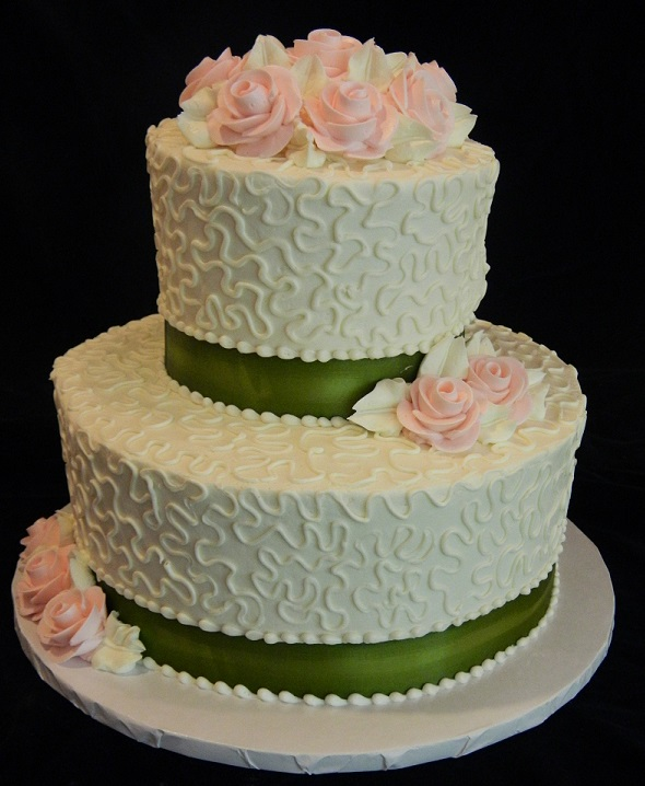 Wedding Cakes     Dinkel s Two Tiered with Swirls and Flowers