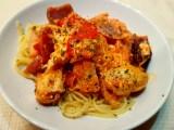 Chicken and feta spaghetti