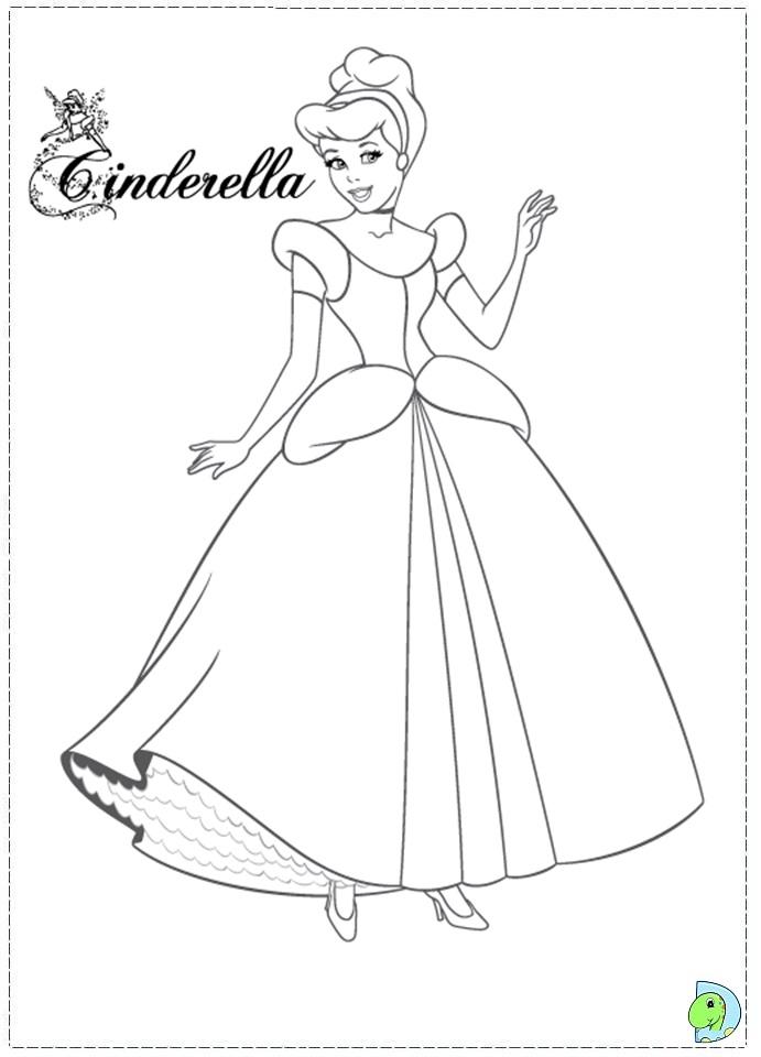cinderella coloring page dinokids org