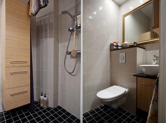 decoración baño pavimento negro tradicional