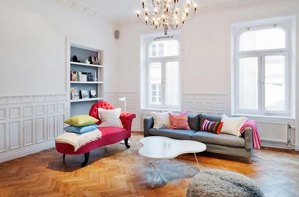 decoración salón chaise longue