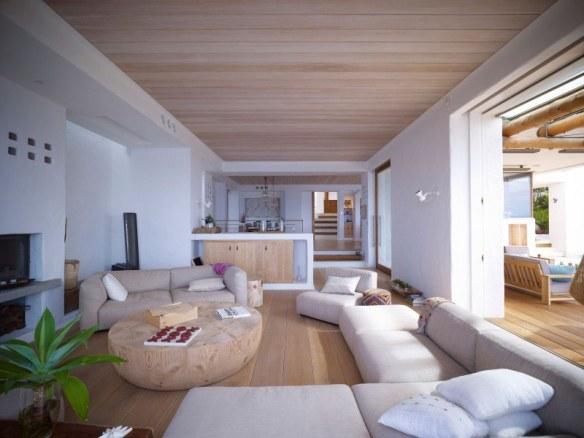 salón casa en blanco y madera natural