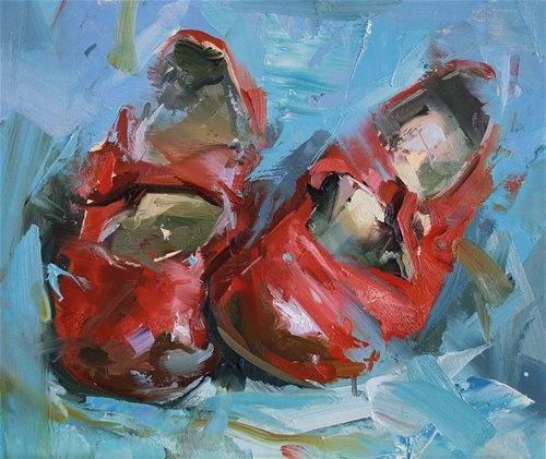 calzado rojo nina