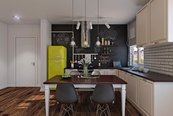 yellow-fridge-polished-wood-floors-scandinavian-kitchen