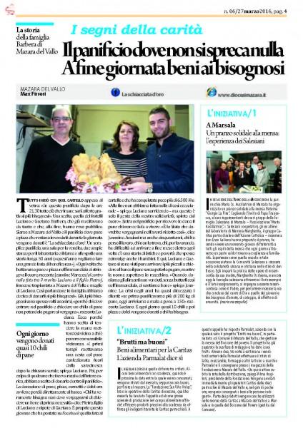 """La pagina dell'edizione cartacea di """"Condividere"""" dedicata all'iniziativa del panificio """"La schiacciata d'oro""""."""