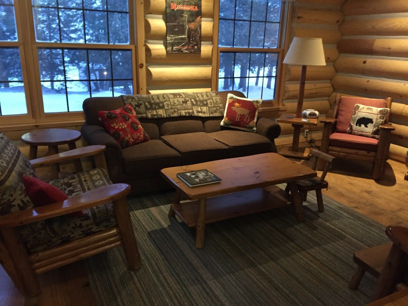 Cozy living room in our cabin