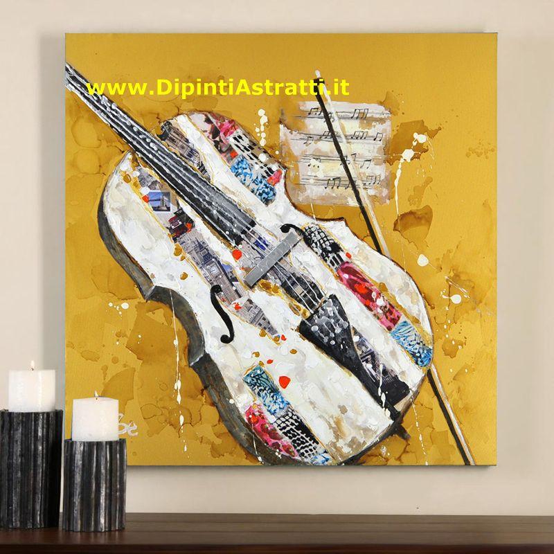 Quadri moderni violino dipinto a mano musica dipintiastratti for Dipinti figurativi moderni