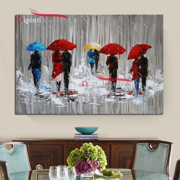 Quadri moderni persone sotto la pioggia con ombrelli