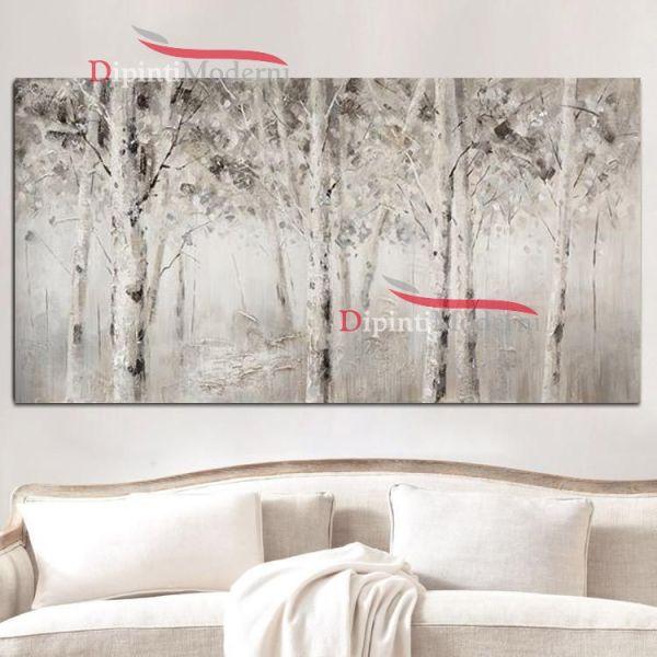 Quadro con foresta di alberi bianchi