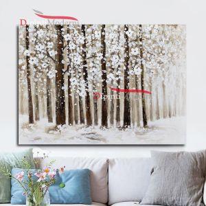 Quadro con paesaggio alberi innevati in fiore