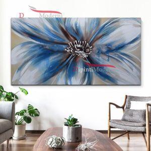 Quadro su tela fiore azzurro
