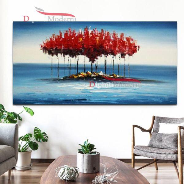 Quadro su tela isola astratta con alberi rossi