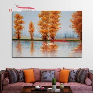 quadri con paesaggio alberi sul mare in autunno