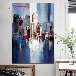 quadri moderni con grattacieli azzurro