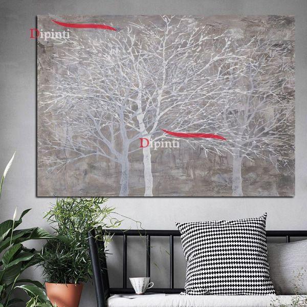 quadro astratto alberi bianchi spogli