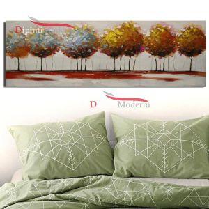 Quadro astratto alberi folti dipinto a mano