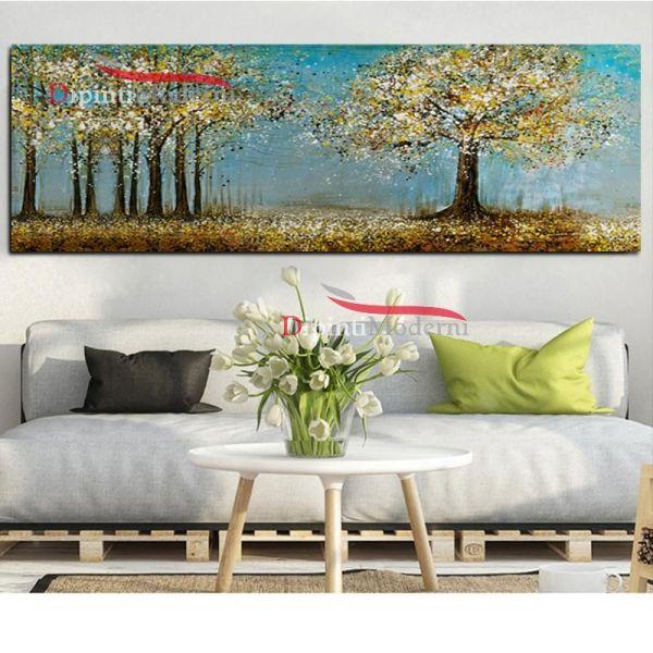 Quadro campagna con alberi su tela