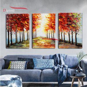 Dipinti su tela viale alberato autunno prospettiva moderni