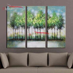 Dipinto olio su tela paesaggio alberi verdi trittico moderno