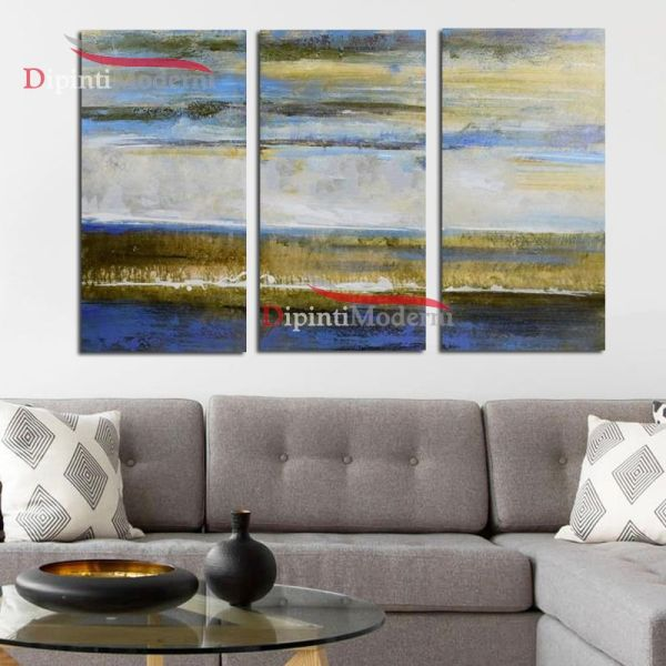 Dipinto paesaggio lago sfumato olio su tela