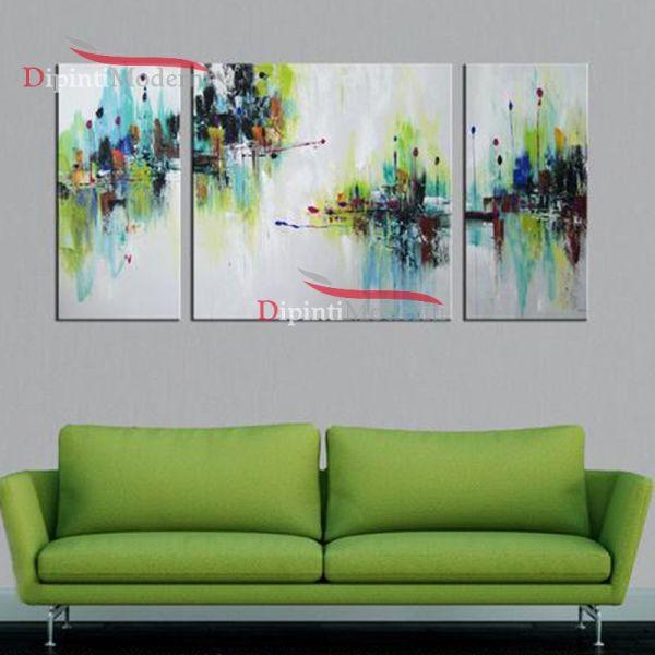 Quadri astratti soggiorno verde