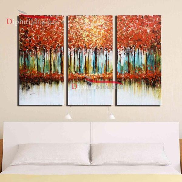 Quadri moderni dipinti su tela foresta alberi autunno rosso